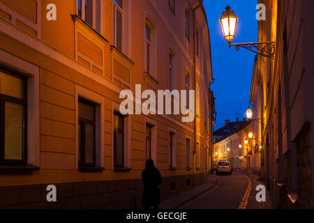 Walking down a twisting street past medieval architecture at night in the Lithuanian city of Vilnius - Stock Photo