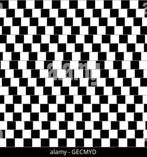 Cafe wall illusion. Geometrical optical illusion in which the parallel straight lines appearing to be sloped. - Stock Photo