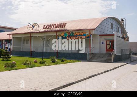 Vityazevo, Russia - April 22, 2016: Bowling Center 'Hero' in the resort village Vityazevo, a suburb of Anapa - Stock Photo