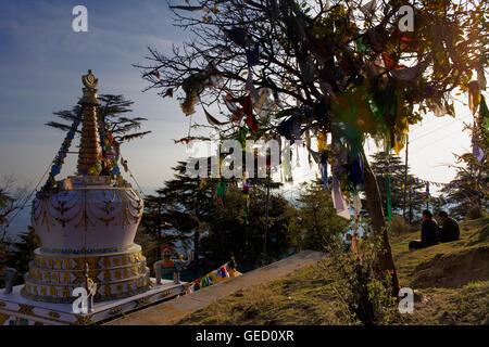 Stupa in Lhagyal Ri,near Tsuglagkhang complex,McLeod Ganj, Dharamsala, Himachal Pradesh state, India, Asia - Stock Photo