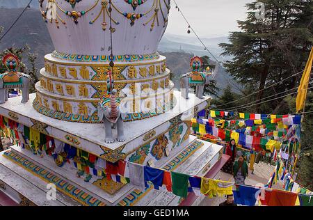 Stupa in Lhagyal Ri, near Tsuglagkhang complex,McLeod Ganj, Dharamsala, Himachal Pradesh state, India, Asia - Stock Photo