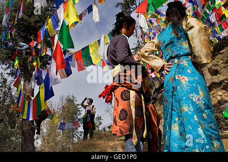 People hanging Tibetan prayer flags in Lhagyal Ri, near Tsuglagkhang complex,McLeod Ganj, Dharamsala, Himachal Pradesh - Stock Photo