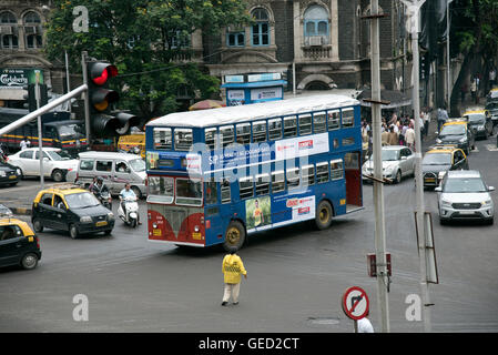 The image of Traffic and Double decker bus outside CST station or VT station, Mumbai India - Stock Photo