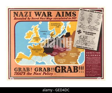 1939 WW2 UK Propaganda poster ' Nazi War Aims' showing proposed Nazi Party policy land 'grab grab grab' plan country - Stock Photo