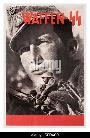 1940's German wartime propaganda recruitment poster for the notorious brutal Nazi Waffen SS military regime - Stock Photo