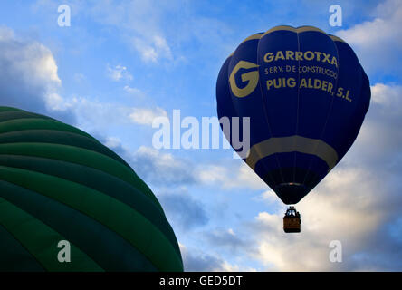 Hot air balloons in Garrotxa Natural Park,Girona province. Catalonia. Spain - Stock Photo