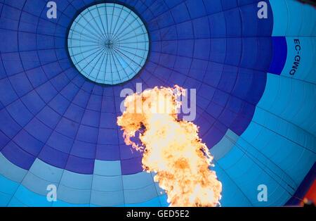 Hot air balloon in Garrotxa Natural Park,Girona province. Catalonia. Spain - Stock Photo