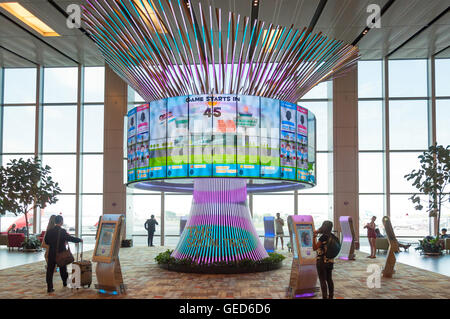 The Social Tree interactive installation in Transit Hall, Terminal 1, Singapore Changi Airport, Changi, Singapore - Stock Photo
