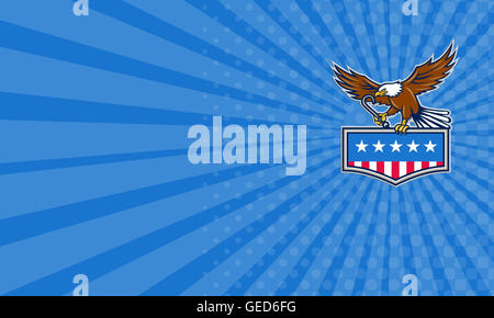 Business card showing illustration of an american bald eagle holding towing j hook and clutching american usa flag - Stock Photo