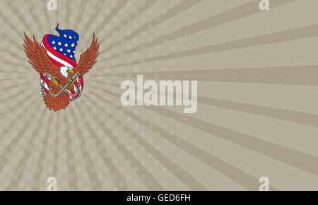 Business card showing Drawing sketch style illustration of an american bald eagle wings flying looking to the side - Stock Photo