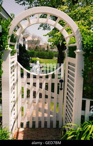 Garden gate in Edgartown Massachusetts on Martha's Vineyard. - Stock Photo