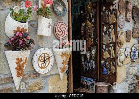 Ceramic souvenir shop in Santillana del Mar, Cantabrica, Spain, Europe. - Stock Photo