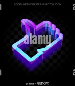 Social media icon: 3d neon glowing Thumb Up made of glass, EPS 10 vector. - Stock Photo