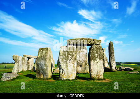 Stonehenge in Wiltshire of the Great Britain. It is a prehistoric monument, in Wiltshire in South West England. - Stock Photo