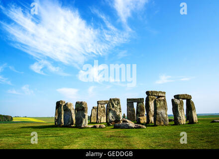 Stonehenge of Wiltshire of the Great Britain in cloudy weather. It is a prehistoric monument, in Wiltshire in South - Stock Photo