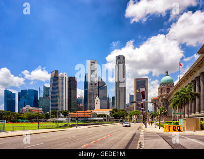 Singapore, Singapore - March 1, 2016: Skyline of One Raffles Place and UOB Building with Victoria Theater and concert - Stock Photo