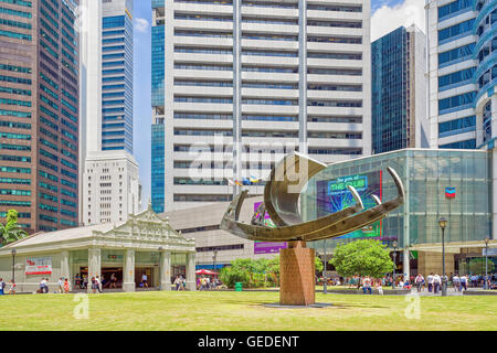 Singapore, Singapore - March 1, 2016: Ship sculpture near One Raffles Place MRT subway entrance in Financial Center - Stock Photo