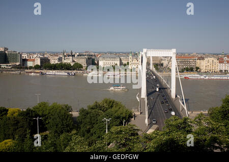Late afternoon view from Buda to Pest by Elizabeth bridge - Stock Photo