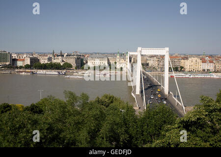 View East across Danube to Pest from Dobrentei Ter - Stock Photo