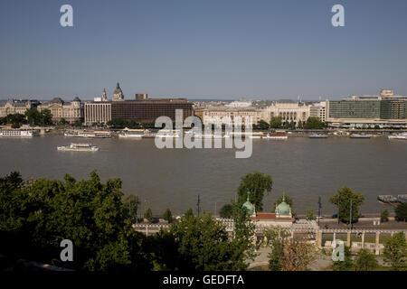View across Danube from Buda towards city centre - Stock Photo