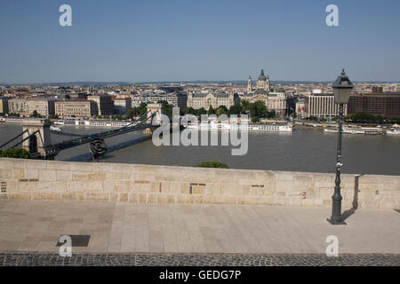 View from outer courtyard on Castle hill past Chain bridge to Pest - Stock Photo