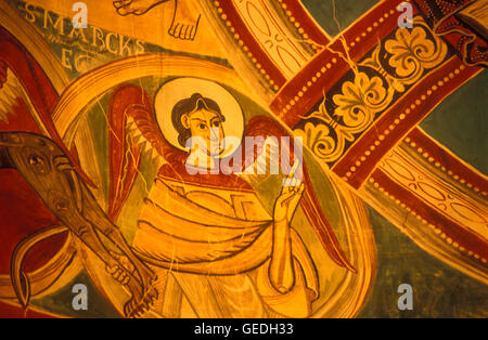 Detail of paintings in central apsis.`San Marcos´.Church of Sant Climent.Romanesque church. Taüll. Boí valley.Lleida - Stock Photo
