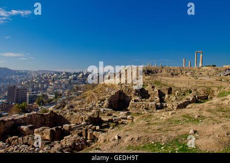 Hercules Temple in Amman Jordan - Stock Photo