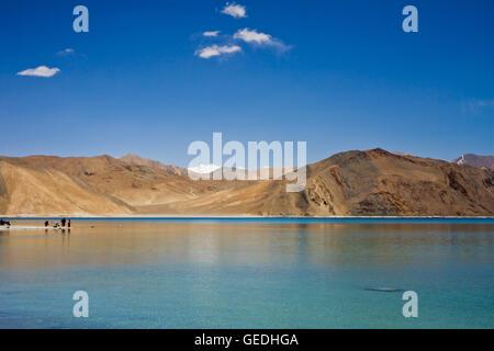 Pangong Tso lake Kashmir - Stock Photo