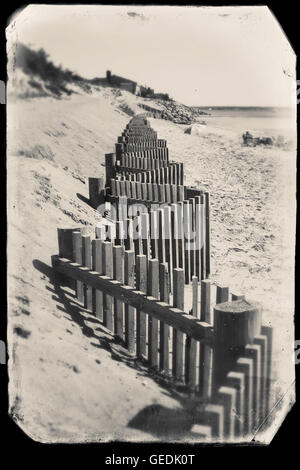 Black and white photo with vintage look in Eastham, MA, Cape Cod. - Stock Photo