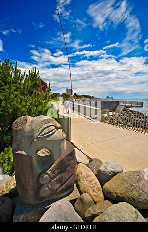 geography / travel, New Zealand, North Island, New Plymouth, Stone sculpture called Anchor Stone by artist Filipe - Stock Photo