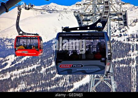 geography / travel, Canada, British Columbia, Whistler, Peak 2 Peak Gondolas on Whistler Mountain with Blackcomb - Stock Photo