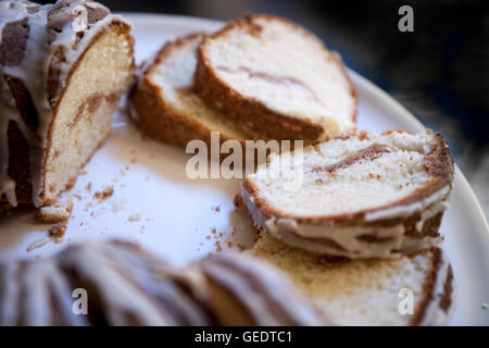 Sliced Sour Cream Coffee Cake with Maple Syrup Glaze - Stock Photo