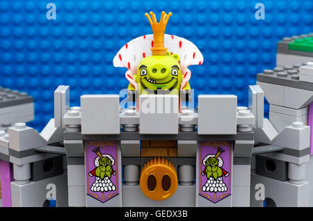 Tambov, Russian Federation - July 20, 2016 Lego Angry Birds. King Pig standing on King Pig's Castle balcony. Studio - Stock Photo