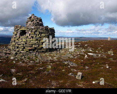 Large cairn on Creagan a' chaise, Hills of Cromdale, Scotland - Stock Photo