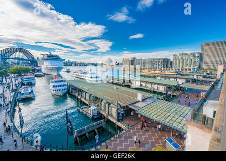 Circular Quay in Sydney CBD in daytime - Stock Photo