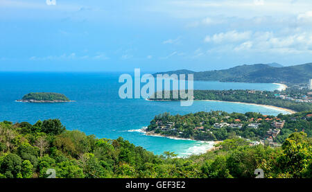 Beautiful turquoise ocean and sandy coastline from high view point. Kata and Karon beaches, Phuket, Thailand - Stock Photo