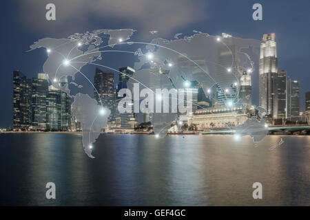 Network and world map on blur city use for global network partners background.(Elements of this image furnished - Stock Photo
