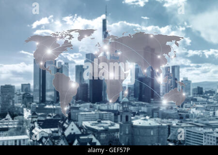 Networking concept - Network and world map on blur city use for global network partners background. - Stock Photo