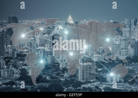 Networking concept - Network and world map on blur city use for global network partners background.(Elements of - Stock Photo