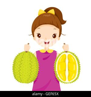 Girl Holding Durian, Tropical Fruits, Healthy Eating, Food, Juice - Stock Photo