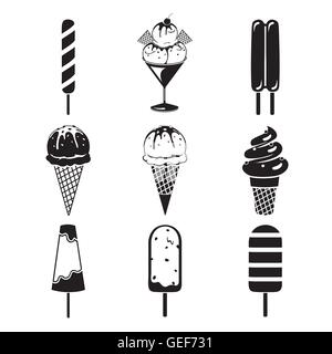 Ice Cream Objects Icons Set, Monochrome, Summer, Frozen Food, Eating, Icy - Stock Photo