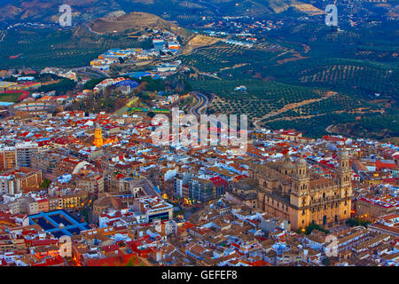 geography / travel, Spain, Andalusia, Jaen, City of Jaen and Cathedral at dusk, Province of Jaen, Andalusia (Andalucia), - Stock Photo