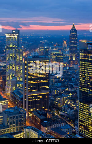 geography / travel, Germany, Hesse, Frankfurt am Main, Sunset over the Messeturm and Westendstrasse 1 skyscrapers - Stock Photo