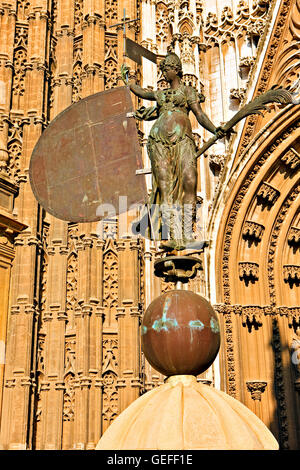 geography / travel, Spain, Andalusia, Seville, Replica of the weathervane, a statue representing Faith outside the - Stock Photo