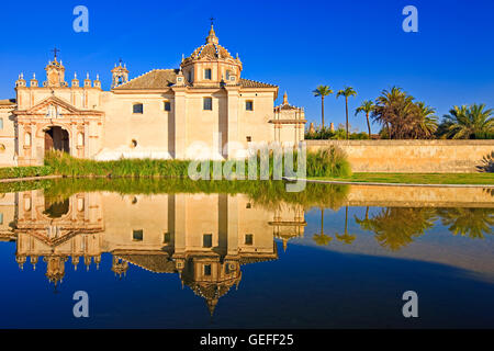 geography / travel, Spain, Andalusia, Sevilla, Reflections on a pond in the Jardin de la Cartuja of the Monasterio - Stock Photo