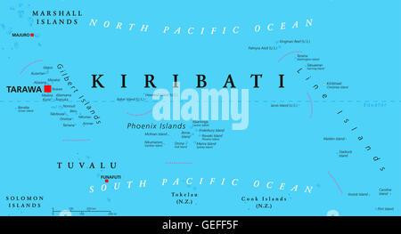 Kiribati political map with capital Tarawa. Republic and island nation in central Pacific Ocean. - Stock Photo