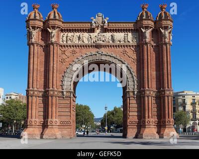 Arc de Triomf, Triumphal Arch in Barcelona, Catalonia, Spain. - Stock Photo