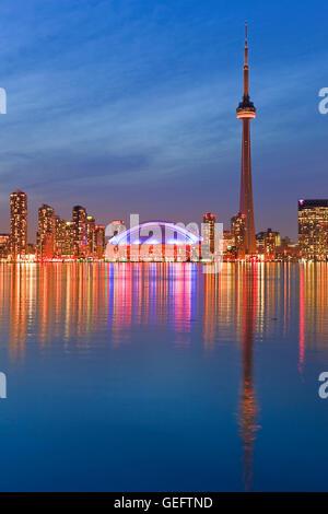geography,travel,Canada,Ontario,Toronto,Toronto City Skyline seen dusk from Centre Island,Toronto Islands,Lake Ontario,Ontario, - Stock Photo