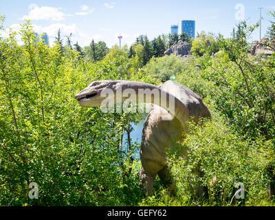 A model replica of an Apatosaurus, a genus of sauropod dinosaur. Calgary Zoo, Calgary, Alberta, Canada. - Stock Photo