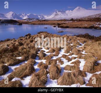 Winter scene on Loch Ba, Rannoch Moor, west Highlands. - Stock Photo
